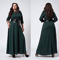 Нарядное платье макси из французского трикотажа,кружевной лиф, кож. пояс р. 50,54,56 бутылоч (540)