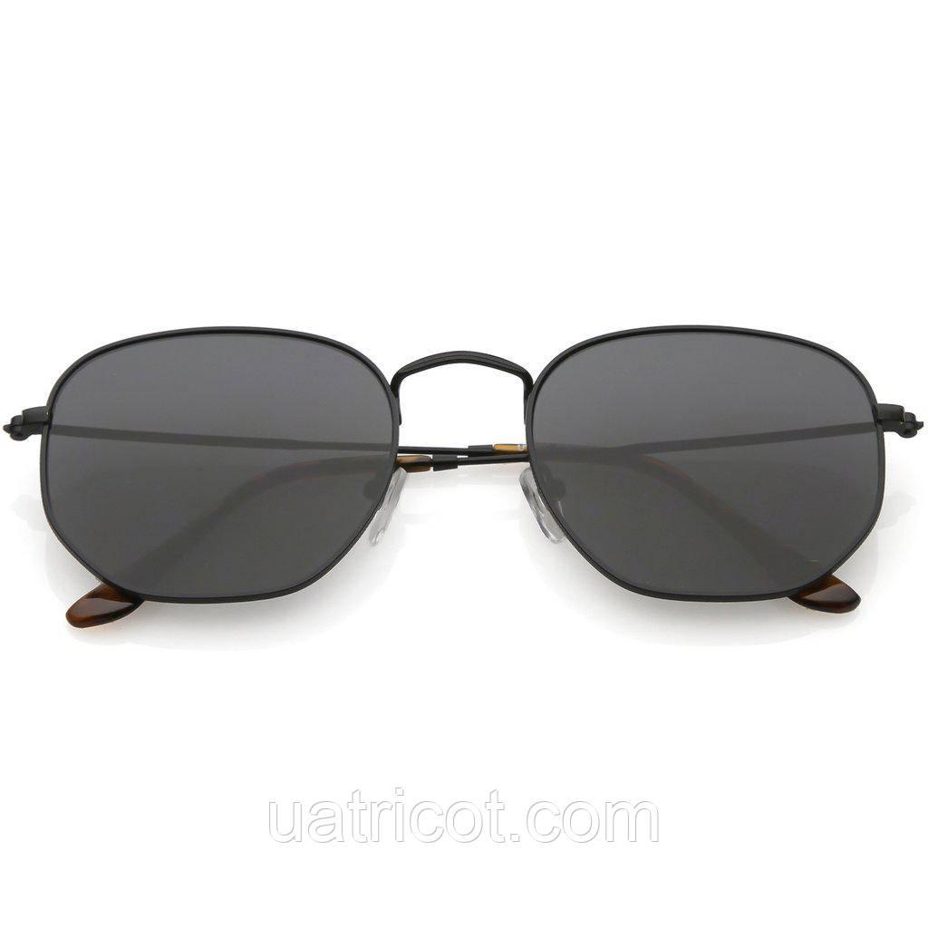 Мужские солнцезащитные очки шестигранники в чёрной оправе со смоки линзами