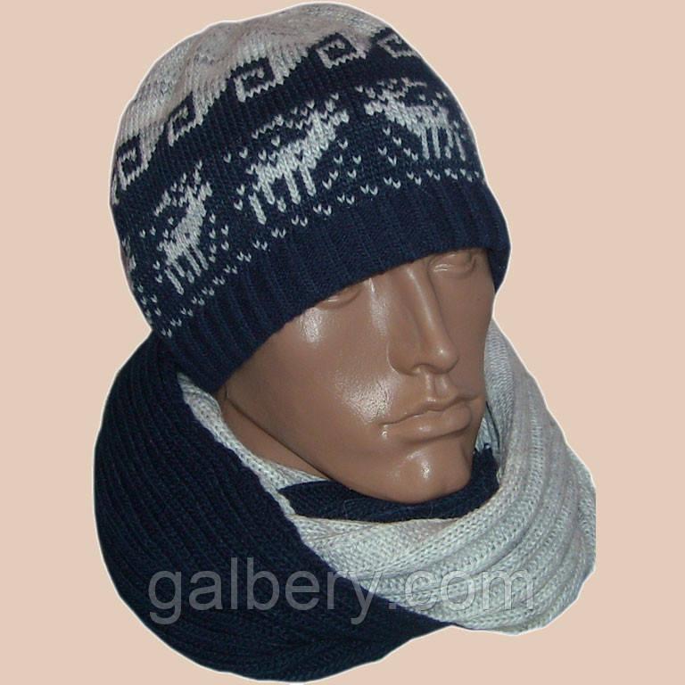 Мужская вязаная зимняя шапка с норвежским орнаментом