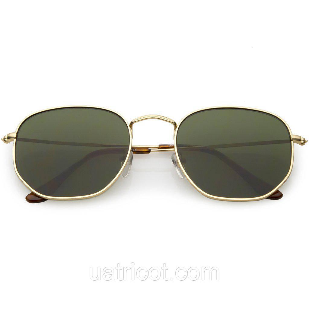 Мужские солнцезащитные очки шестигранники в золотой оправе с зелёными линзами