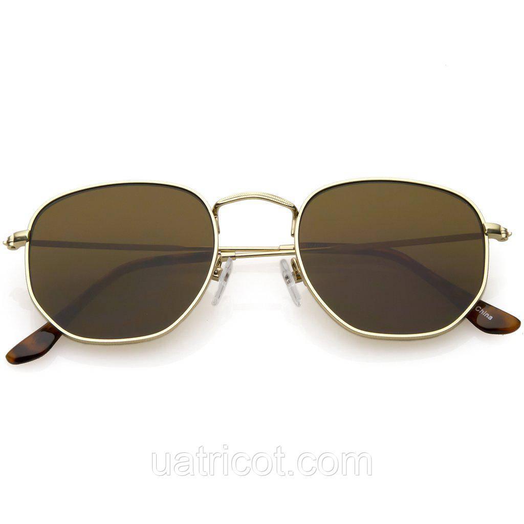Мужские солнцезащитные очки шестигранники в золотой оправе с коричневыми линзами