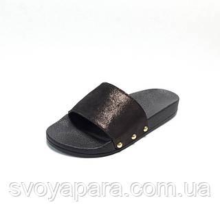 Тапочки женские шлёпанцы коричневого цвета из натуральной кожи на термополиэстеровой плоской подошве