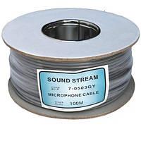 """Кабель микрофонный """"Sound Stream"""" 2 жилы, диам.-4мм, серый, на катушке, 100м"""