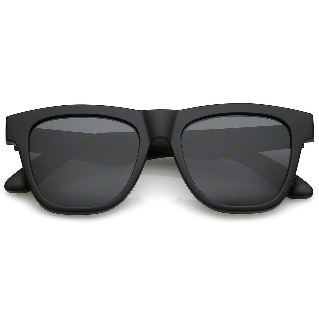 Мужские классические квадратные солнцезащитные очки в чёрной матовой оправе