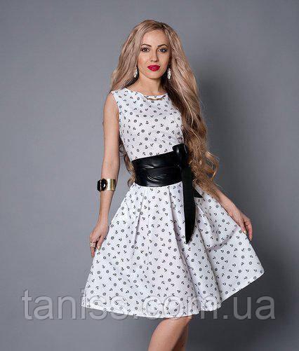 Летнее платье с клешеной юбкой,ткань стрейч-паплин р.44,46,48,50 белое якорь (386)