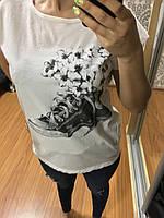 Классная женская футболка, 44-46-48рр, Турция Белый