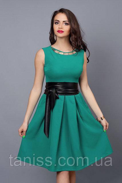 Летнее платье с клешеной юбкой,ткань стрейч-паплин р.40,44 бирюза (386)