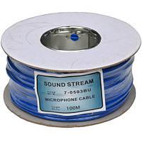 """Кабель микрофонный """"Sound Stream"""" 2 жилы, диам.-4мм, синий, на катушке, 100м"""