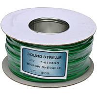 """Кабель микрофонный """"Sound Stream"""" 2 жилы, диам.-4мм, зеленый, на катушке, 100м"""