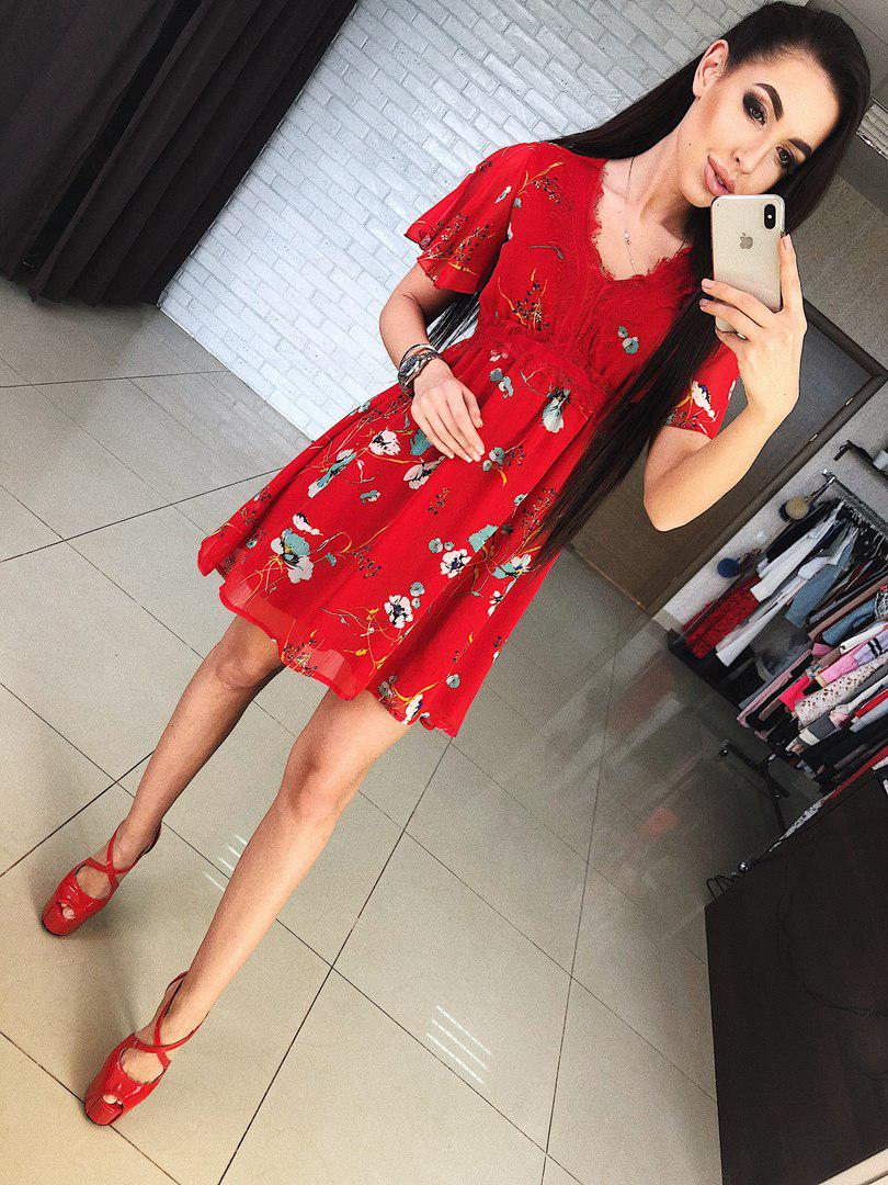 9f345910095b1c0 Яркое и нарядное, женское, летнее платье из шифона с цветочным принтом