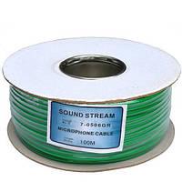 """Кабель аудио-видео """"Sound Stream"""" 2 жилы, диам.-6мм (В-01), зеленый, на катушке, 100м"""