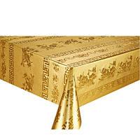 Клеенка ПВХ в рулоне Stenson МА-2204 тиснение c печатью, 1.37*20м, золото, клеенка столовая в рулонах, клеенка пвх, клеенка для стола, скатерти,