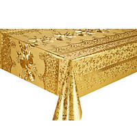 Клеенка ПВХ в рулоне Stenson МА-2205 тиснение c печатью, 1.37*20м, золото, клеенка столовая в рулонах, клеенка пвх, клеенка для стола, скатерти,