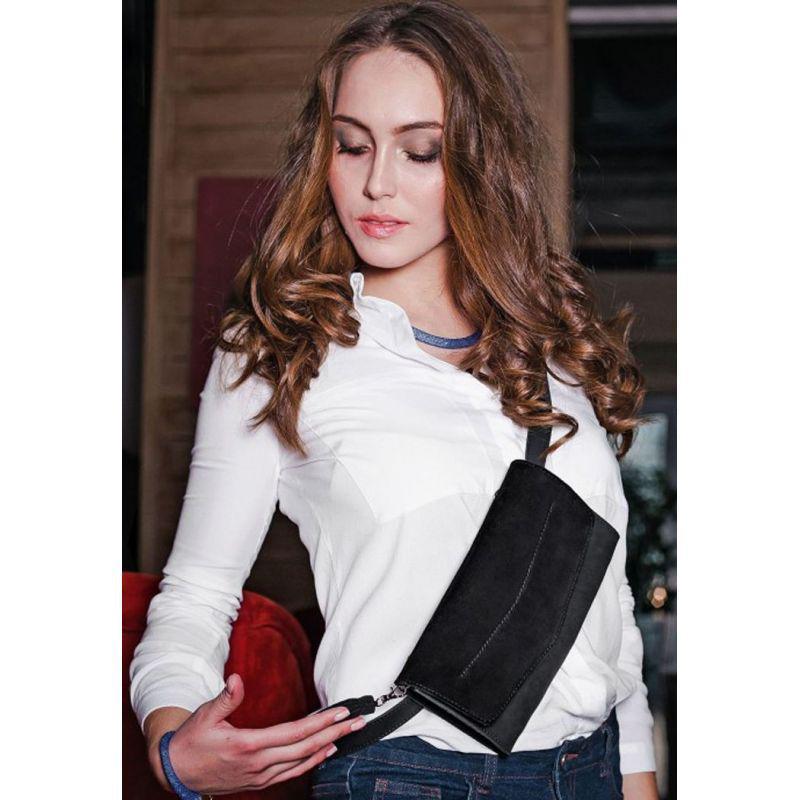 Кожаная женская сумка Элис черная Велюр, фото 1