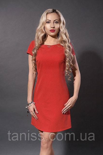 Летнее молодежное платье из натурального тонкого котона, р.46 красный квадраты (277)