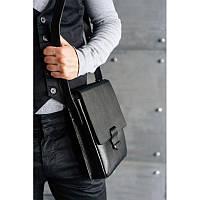 Мужская кожаная сумка-мессенджер Esquire черная, фото 1