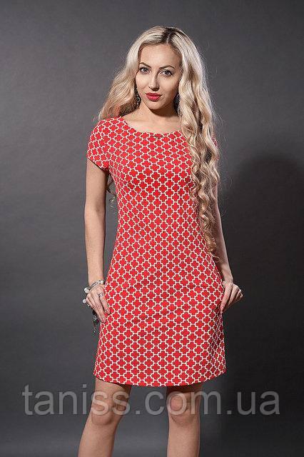 Летнее молодежное платье из натурального тонкого котона, р.44,46,48 красное крестики (277)