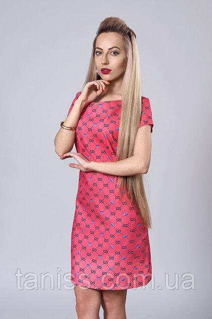 Літній молодіжний сукня з натурального тоненького котону, р. 40,46 рожевий (277)
