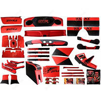 Полный автомобильный тюнинг салона ваз 2101-2107 люкс красный, 44 детали +4 в подарок, обтянуты кожзаменителем