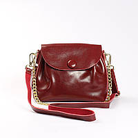 """Женская сумка, клатч через плечо из натуральной кожи """"Пуговка 3 Red Wine"""""""