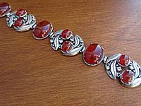 Шикарный серебряный браслет с сердоликом, фото 1