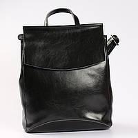 f539ecbed668 Молодежный кожаный рюкзак-сумка (трансформер) черного цвета