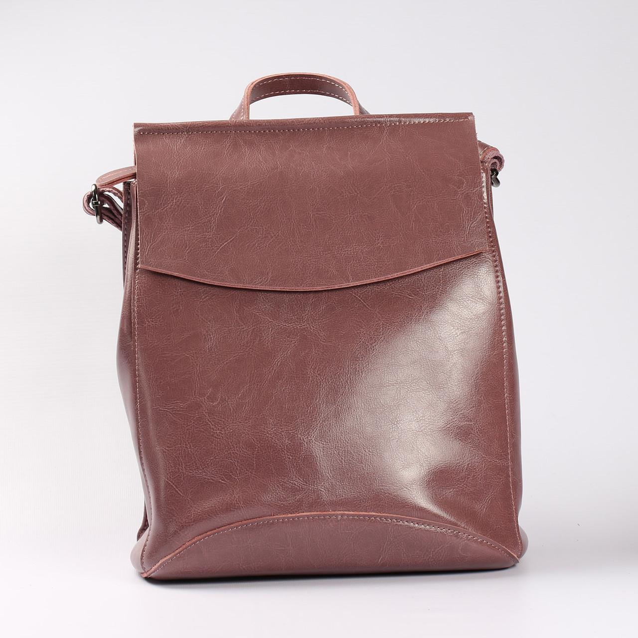 c54f58b39a31 Повседневный кожаный рюкзак-сумка (трансформер), розовый