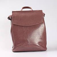 c2c4077e6592 Повседневный кожаный рюкзак-сумка (трансформер), розовый