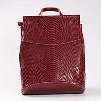 """Кожаный рюкзак-сумка (трансформер) с тиснением под змеиную кожу """"Питон Red Wine"""""""