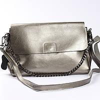 """Женская сумка через плечо из натуральной кожи """"Синди 2, Silver"""""""