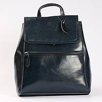 """Кожаный городской  рюкзак-сумка(трансформер) темно-синего цвета """"Жозефина Dark Blue"""""""