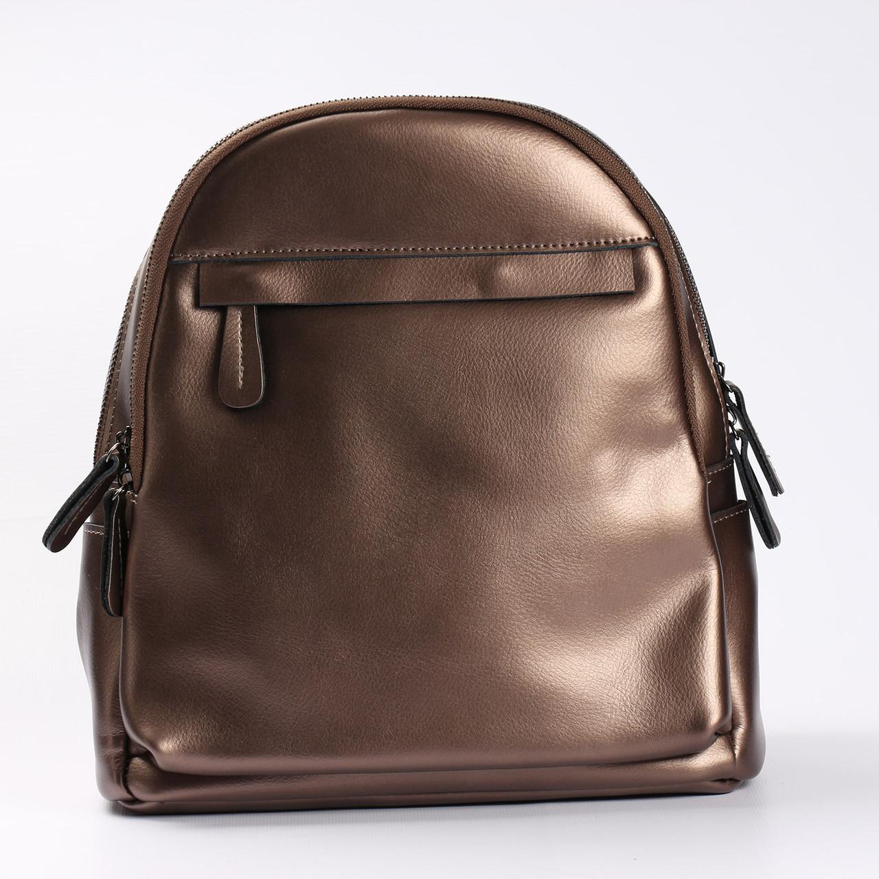 cfd91d23bbec Городской кожаный рюкзак для девушек бронзового цвета