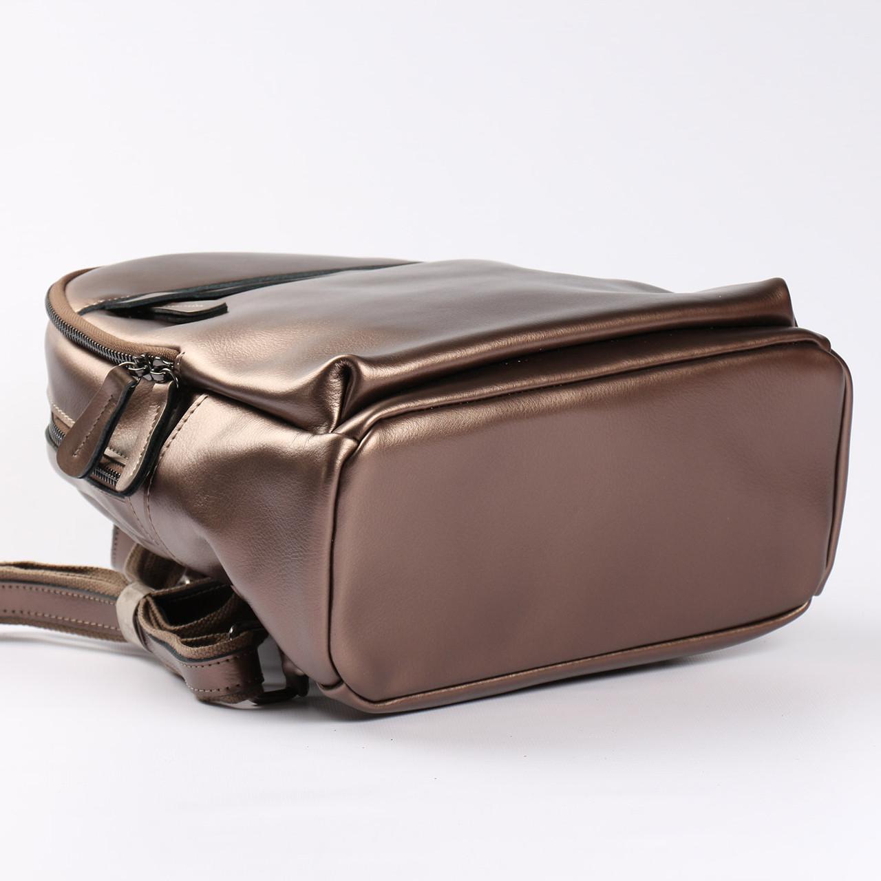 e44c64b6f370 Городской кожаный рюкзак для девушек бронзового цвета