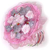 Букет из мягких игрушек Мишки Тэдди 7 розовый