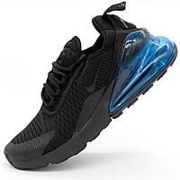 Кроссовки Nike Air Max 270 Flyknit черные с синим. Топ качество! - Реплика р.(45)