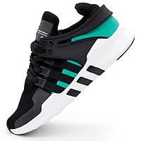 Кроссовки Adidas Equipment Support (EQT) черные с зеленым. Топ качество! - Реплика р.(37, 38, 39, 40, 41, 42, 43, 44)