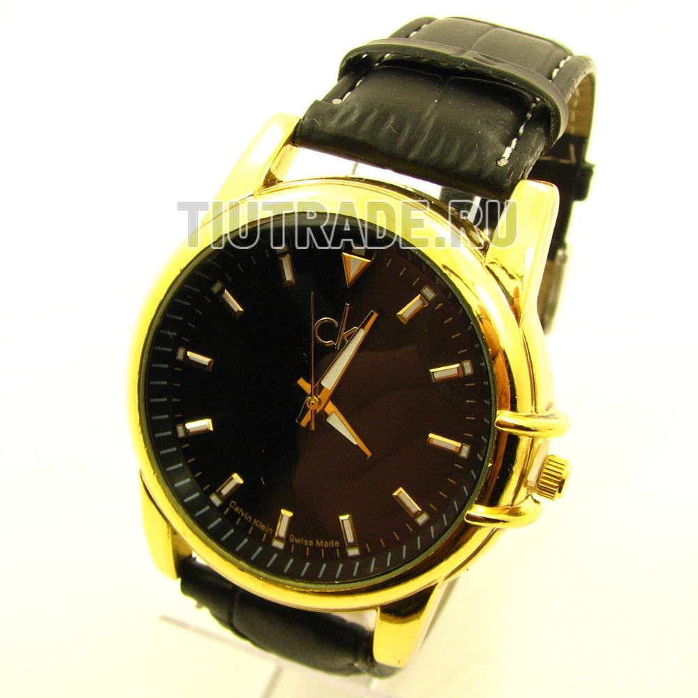 Наручные часы Calvin Klein (реплика). Золотой корпус, черный циферблат, черный ремешок /859 6-2