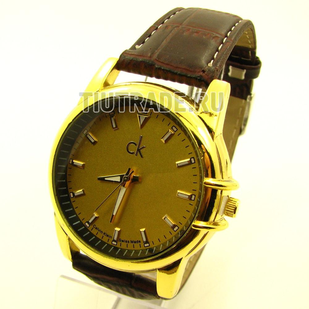 Наручные часы Calvin Klein (реплика). Золотой корпус, золотой циферблат, коричневый ремешок /859 6-2