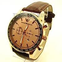 Наручные часы Emporio Armani (реплика). Золотой корпус, бронзовый  циферблат, коричневый ремешок 91e97f80703