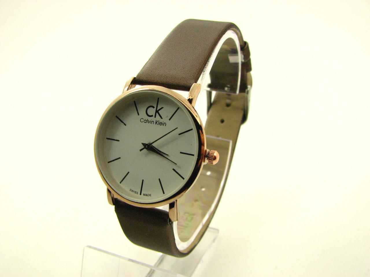 Наручные часы Calvin Klein (реплика). Золотой корпус, белый циферблат, коричневый ремешок /859 9-1
