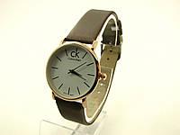 Наручные часы Calvin Klein (реплика). Золотой корпус, белый циферблат, коричневый ремешок /859 9-1, фото 1