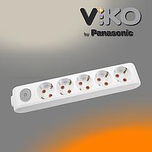 Колодка на 5 гнезд с заземлением и выключателем Multi-let VIKO