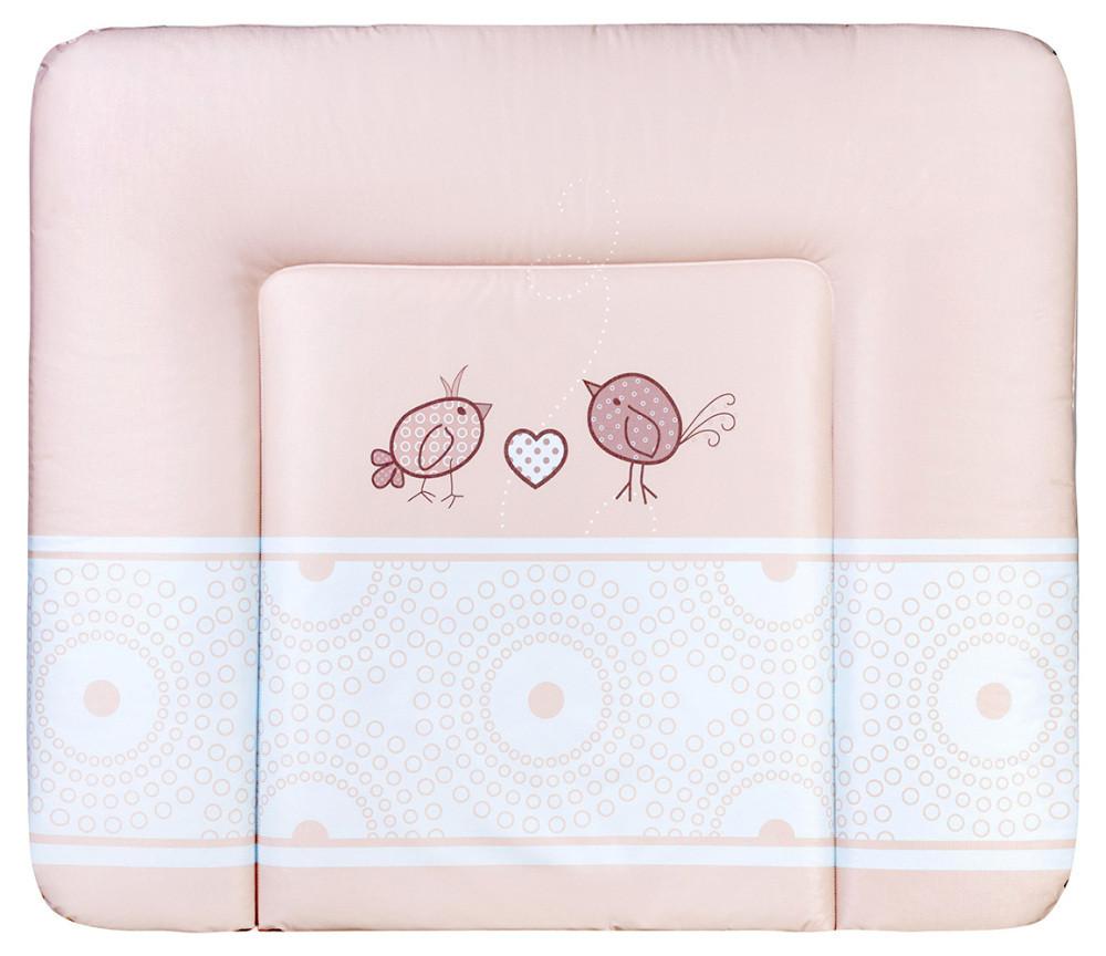Пеленальный матрас Ceba Baby WD 85*70 multi  птички с сердцем розовый