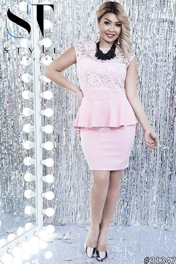 Платье  больших размеров 48+  с баской, верх кружево / 7 цветов арт 5131-98