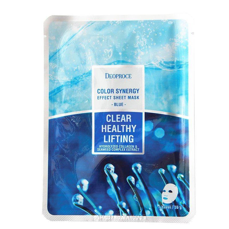 Тканевая маска с морским коллагеном и экстрактами водорослей Deoproce Color Synergy Effect Sheet Mask Blue