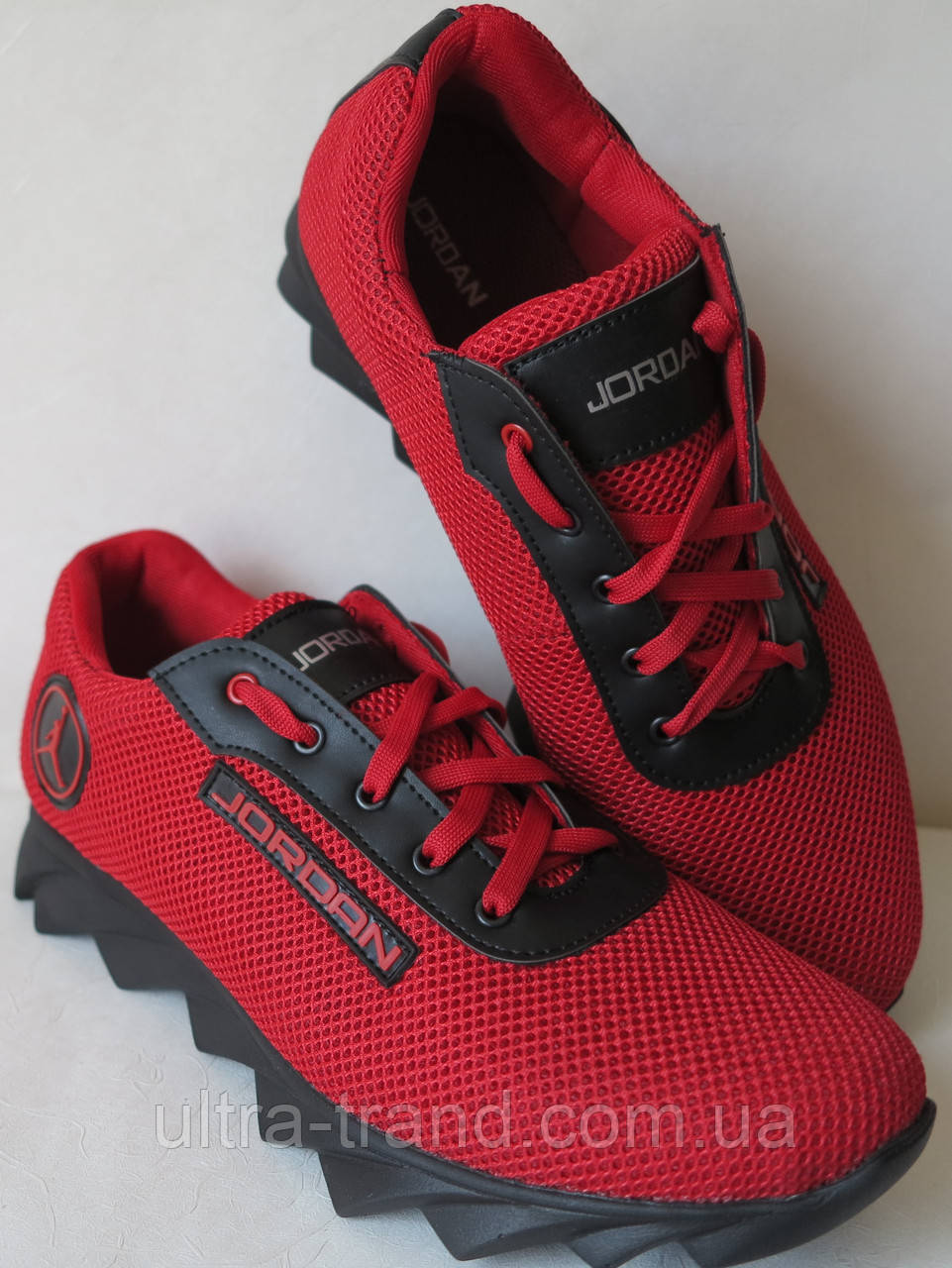 Летние мужские кроссовки в стиле Jordan! красная сетка кожа