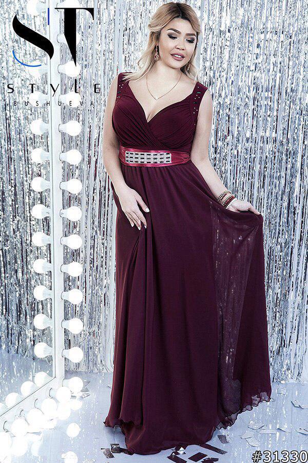 Вечернее платье в пол  больших размеров 48+ украшено камнями на талии  / 7 цветов арт 5134-98