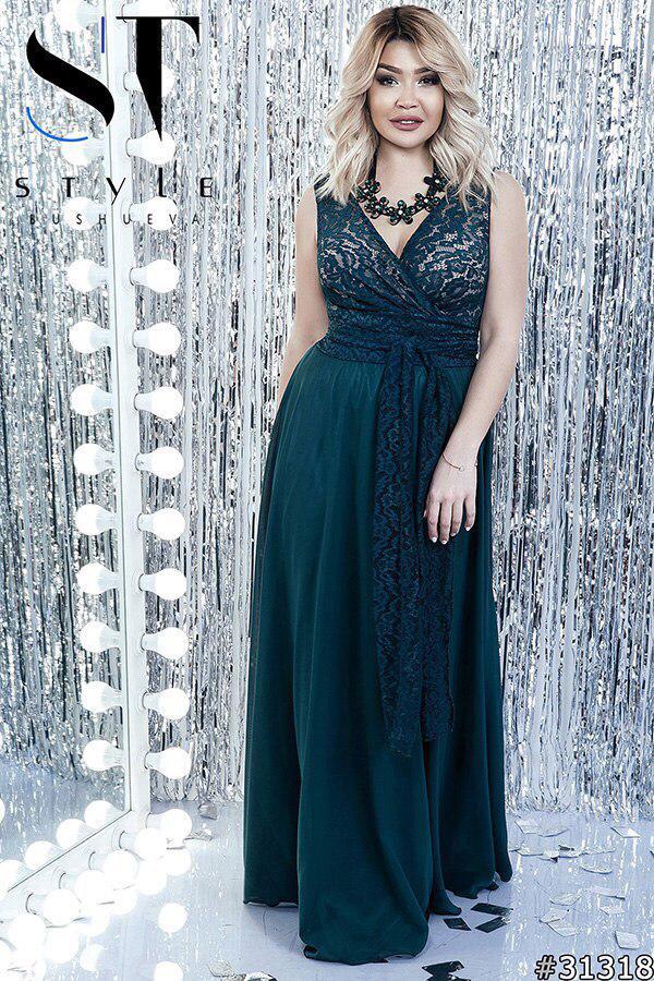 Вечернее платье в пол  больших размеров 48+ с поясом   / 8 цветов арт 5136-98