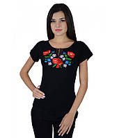 Сучасна вишита футболка. Жіноча вишита футболка. Футболка чорного кольору з  вишивкою. 0e8822c2a6af3