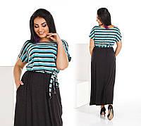 """Длинное платье в пол больших размеров """" Полоски """" Dress Code, фото 1"""